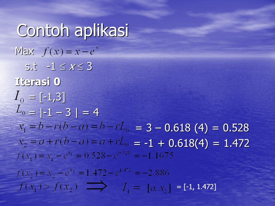 Contoh aplikasi Max s.t -1  x  3 Iterasi 0 = [-1,3] = |-1 – 3 | = 4